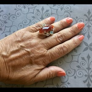 Carnelian & Lt Blue Topaz Gemstone Ring 8